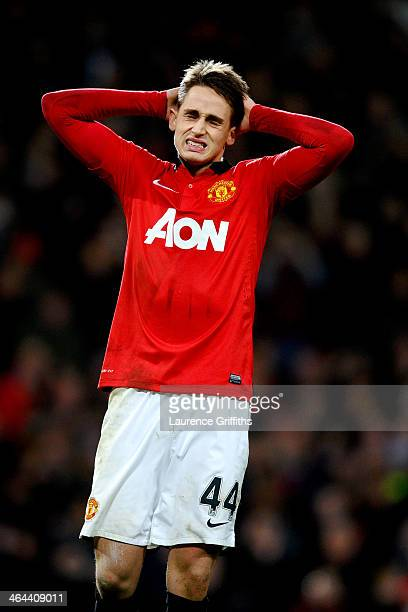 Adnan Januzaj of Manchester United reacts after his penalty is saved during the Capital One Cup semi final second leg match between Manchester United...