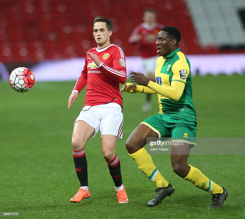 <a gi-track='captionPersonalityLinkClicked' href=/galleries/search?phrase=Adnan+Januzaj&family=editorial&specificpeople=8291259 ng-click='$event.stopPropagation()'>Adnan Januzaj</a> of Manchester United U21s in action during the U21 Premier League match between Manchester United U21s and Norwich City U21s at Old Trafford on February 8, 2016 in Manchester, England.