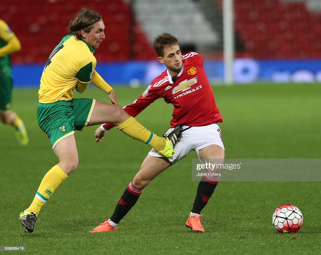 <a gi-track='captionPersonalityLinkClicked' href=/galleries/search?phrase=Adnan+Januzaj&family=editorial&specificpeople=8291259 ng-click='$event.stopPropagation()'>Adnan Januzaj</a> of Manchester United U21s in action with Ray Grant of Norwich City U21s during the U21 Premier League match between Manchester United U21s and Norwich City U21s at Old Trafford on February 8, 2016 in Manchester, England.