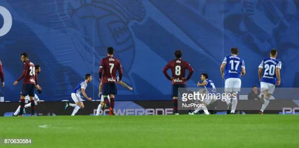 Adnan Januzaj of Real Sociedad celebrates with teammates after scoring during the Spanish league football match between Real Sociedad and Eibar at...