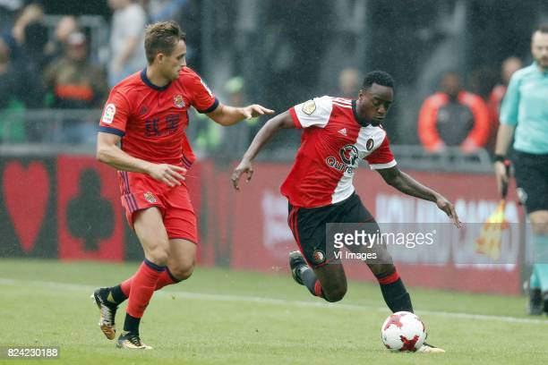 Adnan Januzaj of Real Sociedad de Futbol Ridgeciano Haps of Feyenoord during the preseason friendly match between Feyenoord Rotterdam and Real...