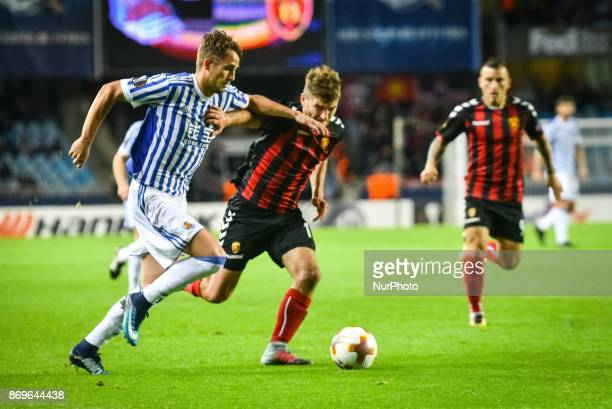 Adnan Januzaj of Real Sociedad duels for the ball with Hovhannes Hambartsumyan of FK Vardar during the UEFA Europa League Group L football match...