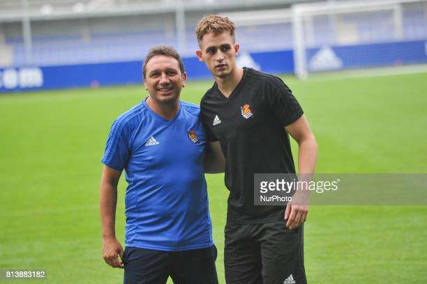 Adnan Januzaj poses with Eusebio Sacristan in the presentation as a new player of the Royal Society at San Sebastian Spain on 13 July 2017