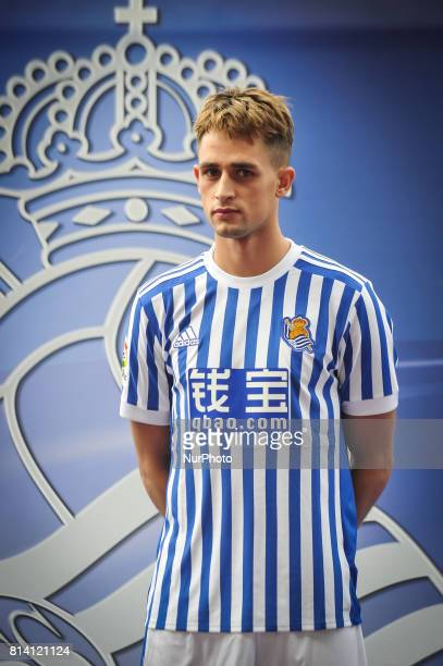 Adnan Januzaj poses with the new tshirt of the Real Sociedad on the day of its presentation at San Sebastian Spain on 13 July 2017