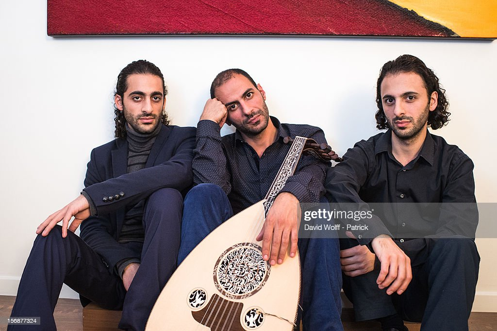 Adnan Joubran, Wissam Joubran and Samir Joubran of Le Trio Joubran pose during a portrait session on November 23, 2012 in Paris, France.