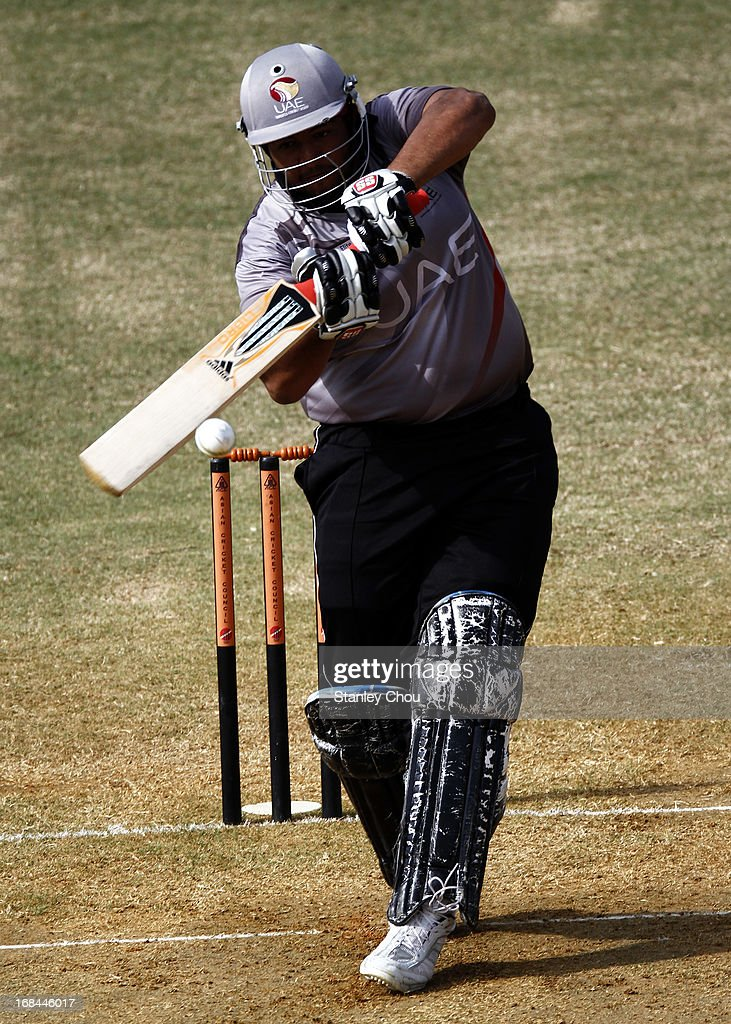 Adnan Kamil Khan of UAE hits a four during the ACC U-19 Elite Cup Semi Final against Nepal at the Bayuemas Cricket Ground on May 10, 2013 in Kuala Lumpur, Malaysia.