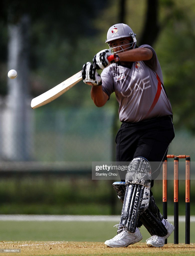 Adnan Kamil Khan of UAE hits a six during the ACC U-19 Elite Cup Semi Final against Nepal at the Bayuemas Cricket Ground on May 10, 2013 in Kuala Lumpur, Malaysia.