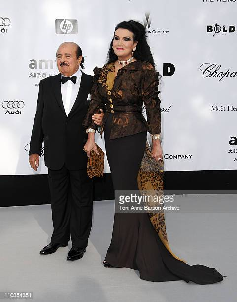 Adnan Khashoggi and wife Lamia Khashoggi arrives at amfAR's Cinema Against AIDS 2008 benefit held at Le Moulin de Mougins during the 61st...