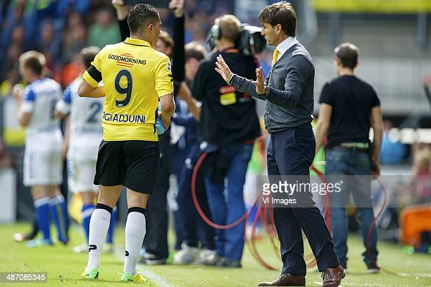 Adnane Tighadouini of NAC Breda coach Nebojsa Gudelj of NAC Breda during the Dutch Eredivisie match between NAC Breda and RKC Waalwijk at Rat Verlegh...