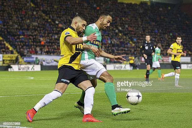 Adnane Tighadouini of NAC Breda Sean Klaiber of FC Dordrecht during the Dutch Eredivisie match between NAC Breda and FC Dordrecht at the Rat Verlegh...