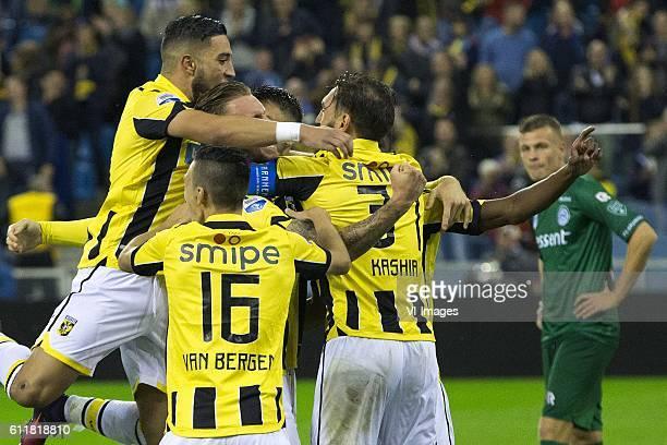 Adnane Tighadouini of Vitesse Arnhem Mitchell van Bergen of Vitesse Arnhem Guram Kashia of Vitesse Arnhem cheer after Vitesse scored 21during the...