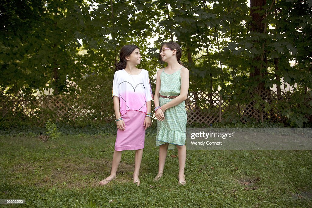 Adolescent Fraternal Twin Sisters : Stock Photo