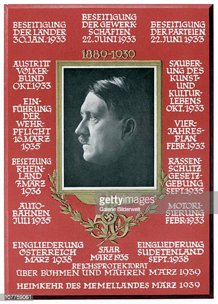 Adolf Hitler 1889 – 1939 The card shows a portrait of the Führer and lists his achievements such as 'Abolishment of the States of the Labor Unions of...