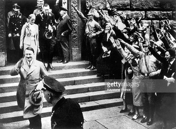 Adolf HITLER descending the steps of the Presidential palace in Berlin after having been named Chancellor of the Reich by President HINDENBURG on...