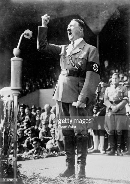 Adolf Hitler German statesman making a speech
