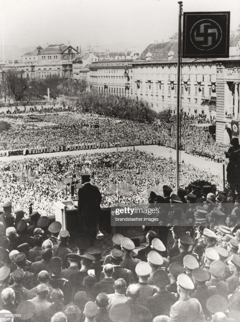 Adolf Hitler takes a speech on the Wiener Heldenplatz. 15. Maerz 1938. Photograph by Albert Hilscher. (Photo by Imagno/Getty Images) [Adolf Hitler spricht am Wiener Heldenplatz. 15. Maerz 1938. Photographie von Albert Hilscher.]