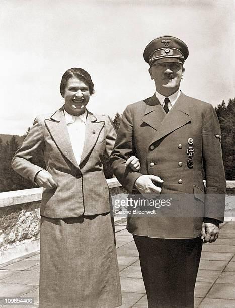 Adolf Hitler with Gertrud Forster born Deetz the wife of Albert Forster Gauleiter of Danzig at the Teehaus Moslahnerkopf Berchtesgaden Germany 1943