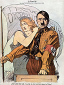 Adolf Hitler with the figure of Germany depicted as a beautiful Aryan woman Aryan leaning on Hitler savior of his country Illustration from the...