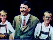 Adolf Hitler with two young aryan type boys 1934