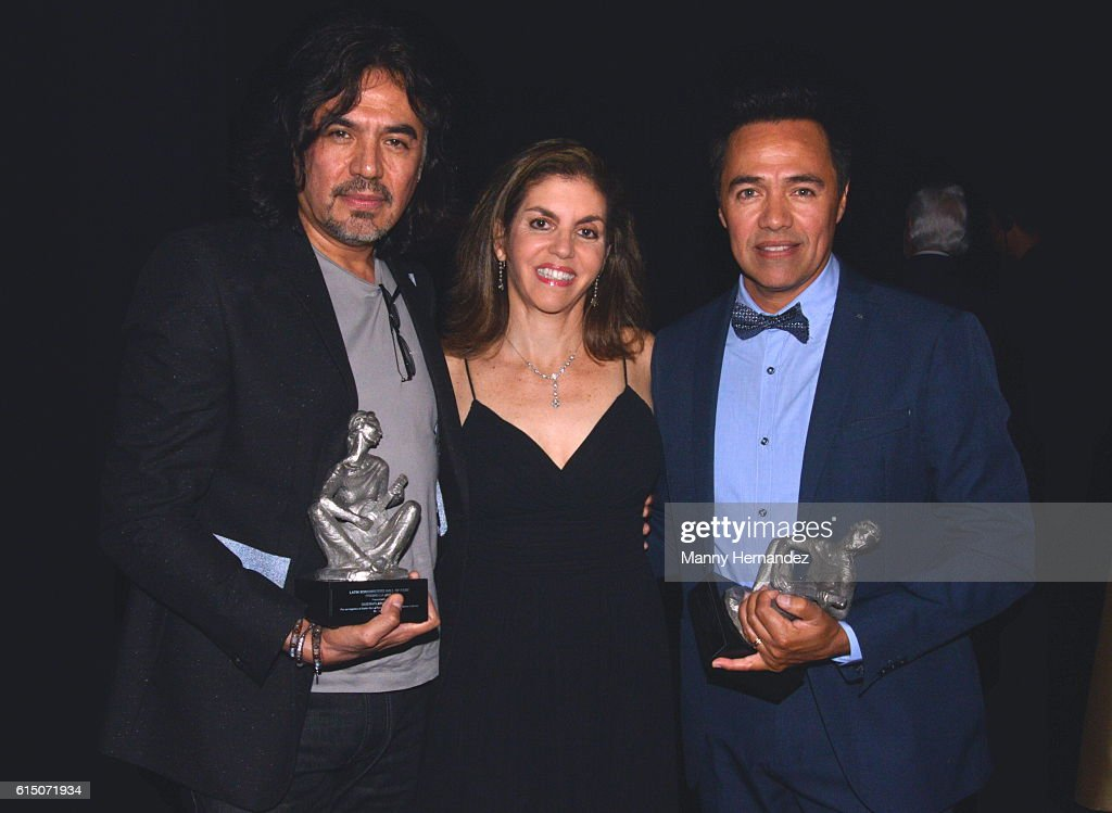 Adolfo Angel, Leila Cobo and Gustavo Angel at Latin Songwriters Hall Of Fame La Musa Awards, Miami Beach, FL on October 13, 2016