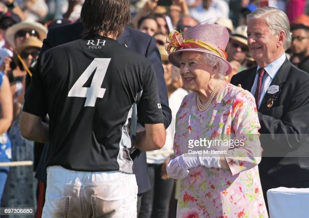 Adolfo Cambiaso Laurent Feniou Queen Elizabeth II and Jock GreenArmytage attend the Cartier Queen's Cup Polo final at Guards Polo Club on June 18...