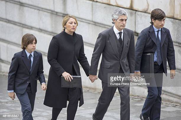 Adolfo Suarez Illana and Isabel Flores arrive for the state funeral ceremony for former Spanish prime minister Adolfo Suarez at the Almudena...