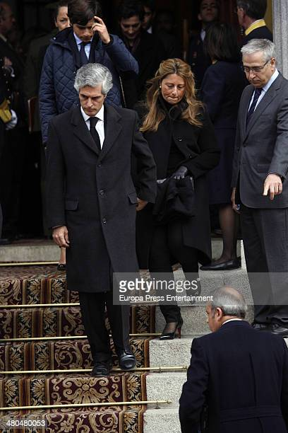 Adolfo Suarez Illana and Isabel Flores attend the military parade with Adolfo Suarez coffin at Carrera de San Jeronimo on March 25 2014 in Madrid...