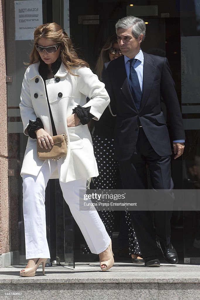 Adolfo Suarez Illana (L) and Isabel Flores (R) attend the wedding of Sonsoles Suarez, daughter of ex president of Spain Adolfo Suarez, and Paulo Wilson on May 18, 2012 in Pozuelo de Alarcon, Spain.