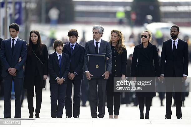 Adolfo Suarez Illana and relatives look on as members of the military carry the coffin of former Spanish Prime Minister Adolfo Suarez to the Spanish...