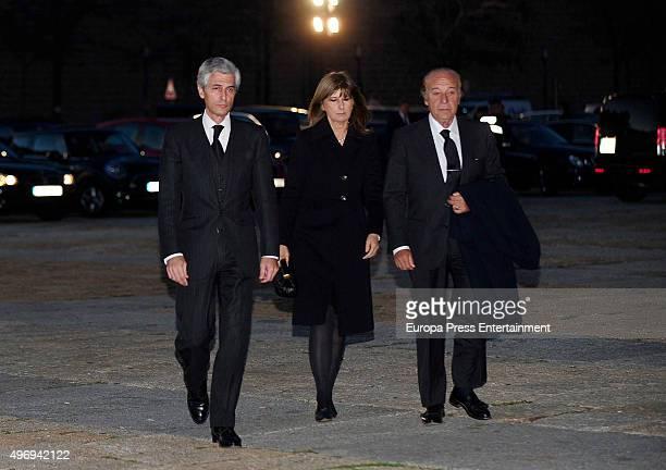 Adolfo Suarez Illana Isabel Santos and Samuel Flores attend a mass service for Spain's Duke of Calabria Carlos de Borbon Dos Sicilias on November 12...
