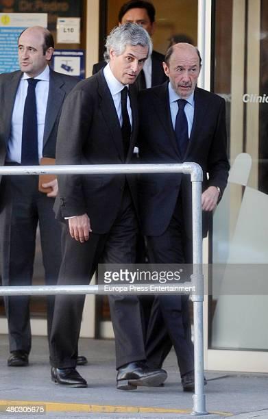 Adolfo Suarez's son Adolfo Suarez Illana receives Alfredo Perez Rubalcaba after the death of Adolfo Suarez the man who led Spain to its transition to...