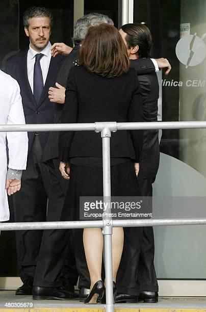 Adolfo Suarez's son Adolfo Suarez Illana receives Jose Maria Aznar and Ana Botella after the death of Adolfo Suarez the man who led Spain to its...