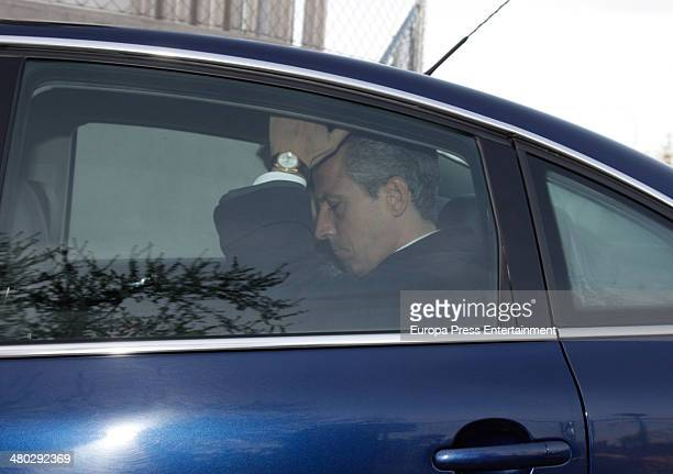 Adolfo Suarez's son Javier Suarez leaves hospital for the Spanish Parliament on March 24 2014 in Madrid Spain Adolfo Suarez was the prime minister...