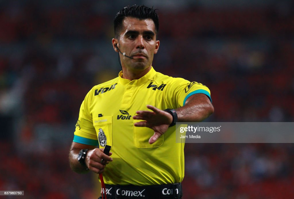 Adonai Escobedo, Referee, in action during the 6th round match between Atlas and Lobos BUAP as part of the Torneo Apertura 2017 Liga MX at Jalisco Stadium on August 22, 2017 in Guadalajara, Mexico.