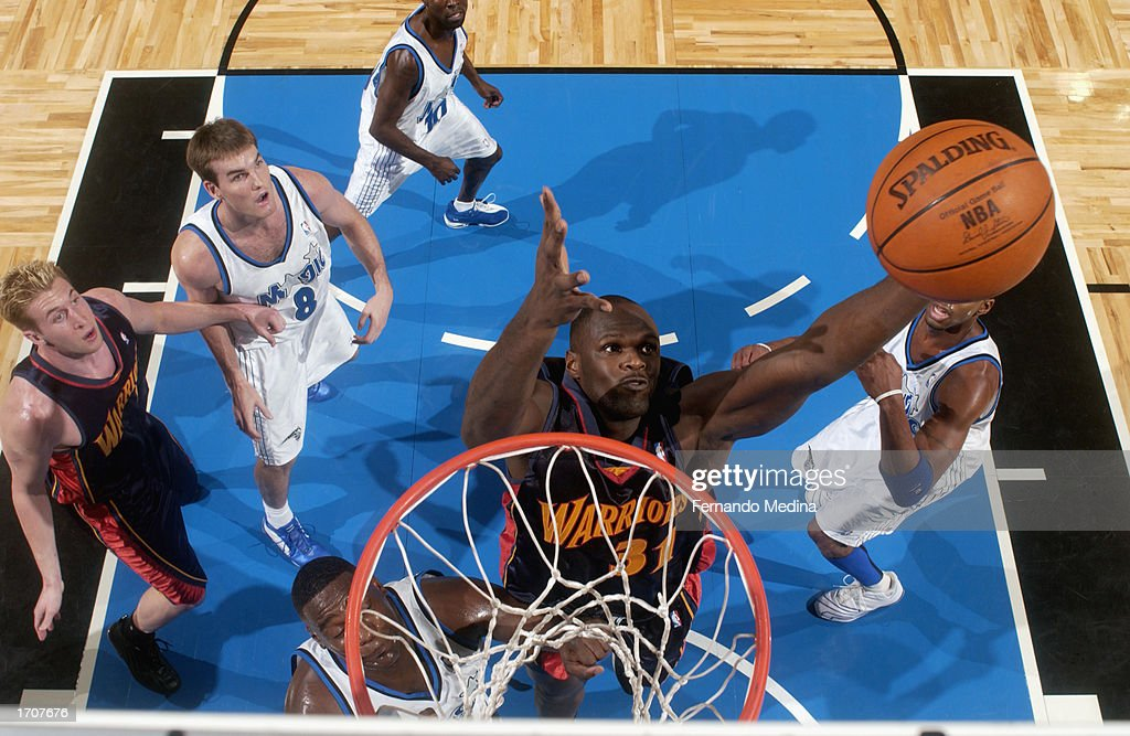 Adonal Foyle #31 of the Golden State Warriors grabs the rebound during the NBA game against the Orlando Magic at TD Waterhouse Centre on December 13, 2002 in Orlando, Florida. The Magic won 111-85.