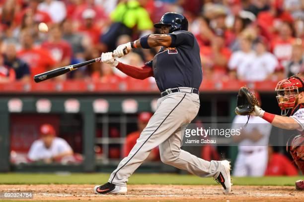 Adonis Garcia of the Atlanta Braves bats against the Cincinnati Reds at Great American Ball Park on June 2 2017 in Cincinnati Ohio
