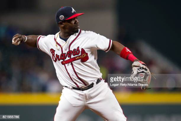 Adonis Garcia of the Atlanta Braves fields a ball against the St Louis Cardinals at SunTrust Park on May 5 2017 in Atlanta Georgia The Cardinals won...