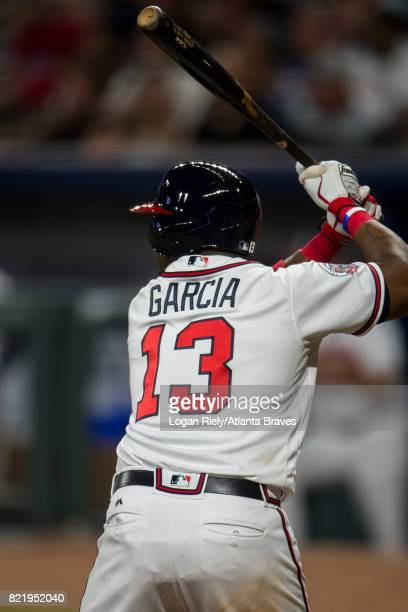 Adonis Garcia of the Atlanta Braves hits against the New York Mets at SunTrust Park on May 02 2017 in Atlanta Georgia The Braves won the game 97
