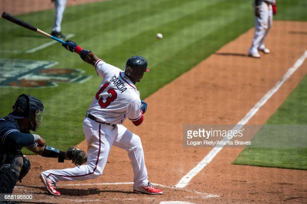 Adonis Garcia of the Atlanta Braves hits against the San Diego Padres at SunTrust Park on April 16 2017 in Atlanta Georgia The Braves won the game 92