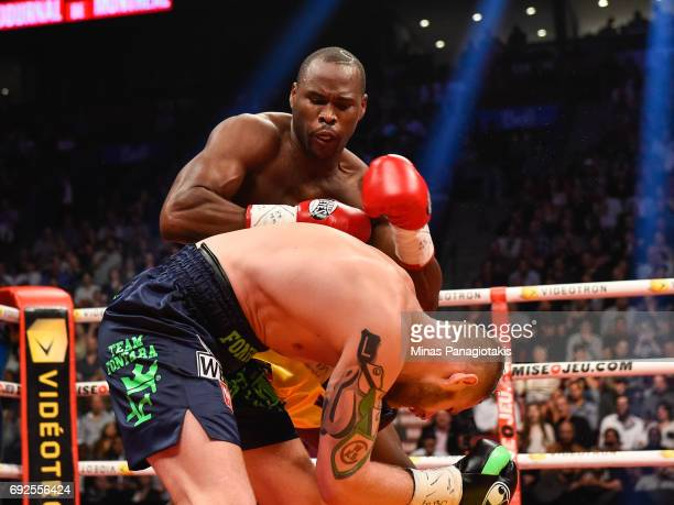 Adonis Stevenson lands a few punches against Andrzej Fonfara during the WBC light heavyweight world championship match at the Bell Centre on June 3...