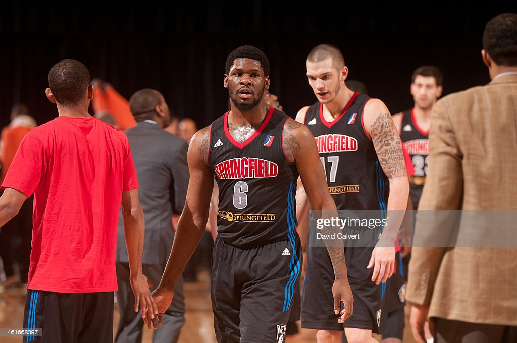 Adonis Thomas #6 and Dennis Horner #17 of the Springfield Armor leave the court during a timeout against the Iowa Energy during the 2014 NBA D-League Showcase on January 9, 2014 at the Reno Events Center in Reno, Nevada.
