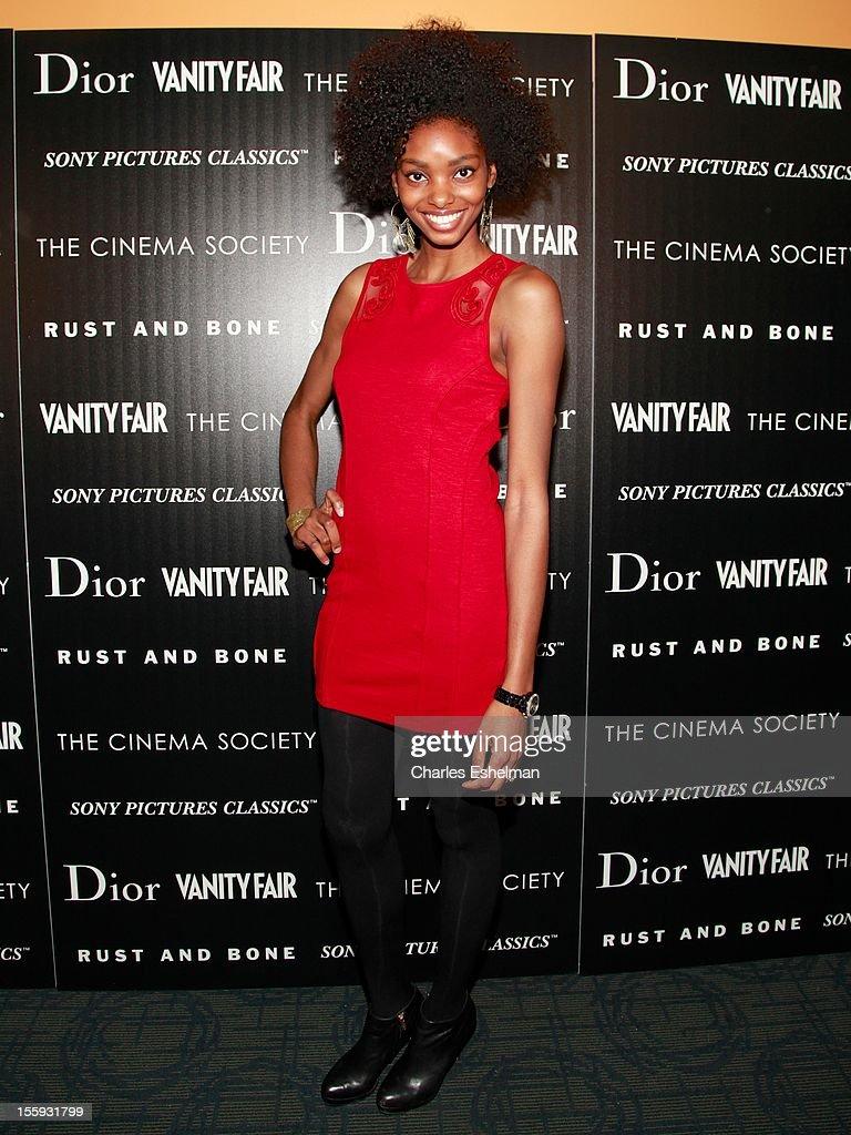 Adora Cobb attends The Cinema Society with Dior & Vanity Fair host a screening of 'Rust and Bone' at Landmark Sunshine Cinema on November 8, 2012 in New York City.
