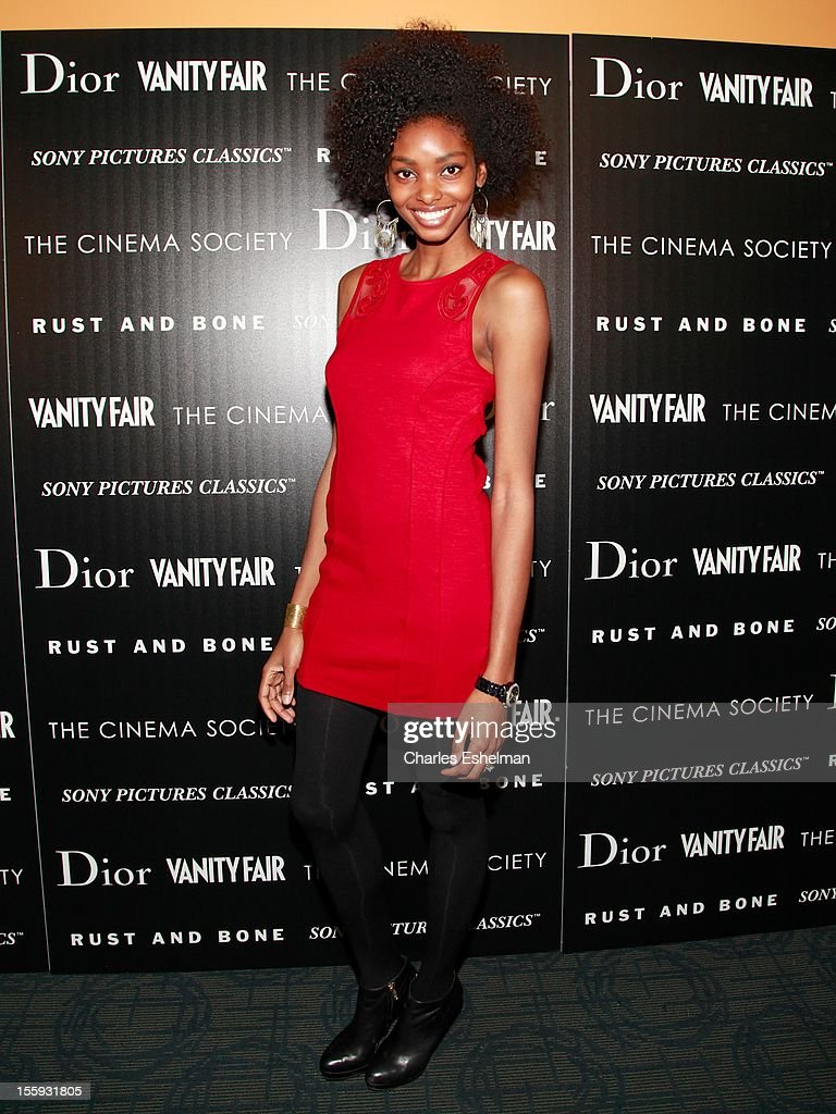 Adora Cobb attends The Cinema Society with Dior & Vanity Fair host a screening of 'Rust and Bone' at Landmark Sunshine Cinema on November 8, 2012 in New York City.