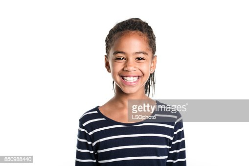 Adorable african little girl on studio white background : Stock Photo
