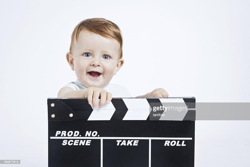 Adorable baby cine director.