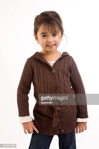 Adorable Ethnic Little Girl in Fall Fashion on White, Copyspace