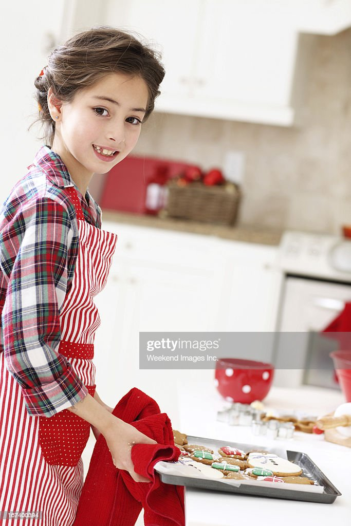 Adorabile ragazza con i cookie : Foto stock