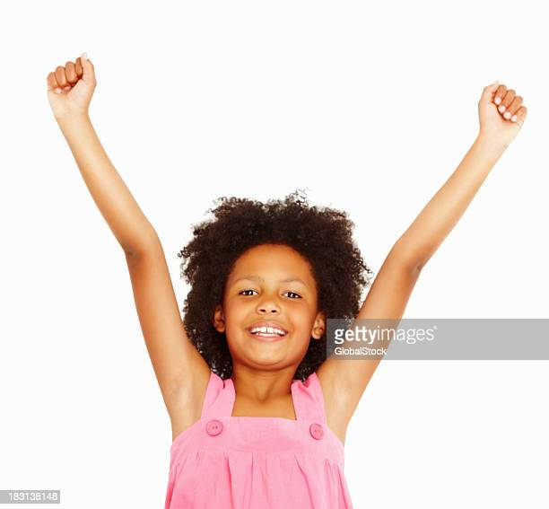 Adorable girl with her arms outstretched
