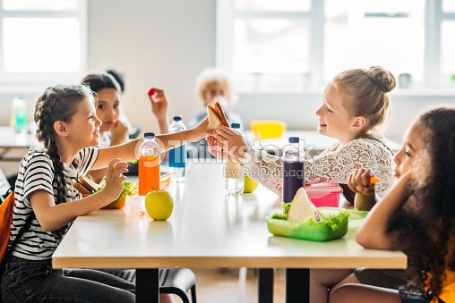 adorable schoolgirls taking lunch at school cafeteria : Stock Photo
