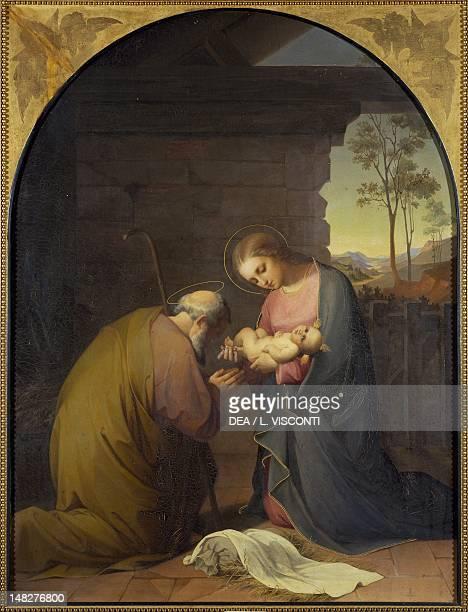Adoration of the Child Jesus by Luisa Piaggio Mussini oil on canvas 109x81 cm Genoa Nervi Galleria D'Arte Moderna